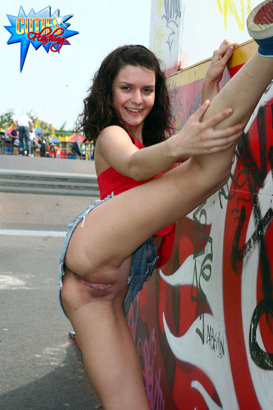Nude flasher in public